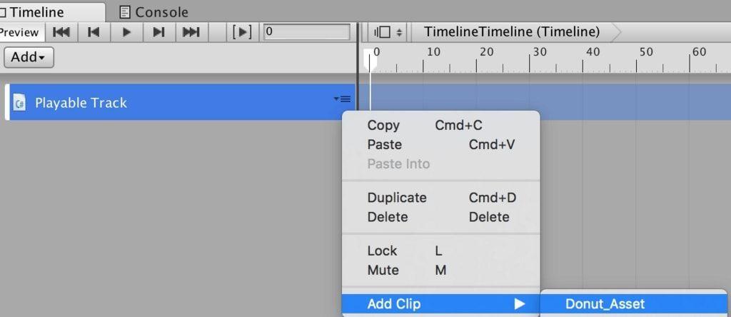 UnityタイムラインのPlayable Trackにdonut_Assetを追加する