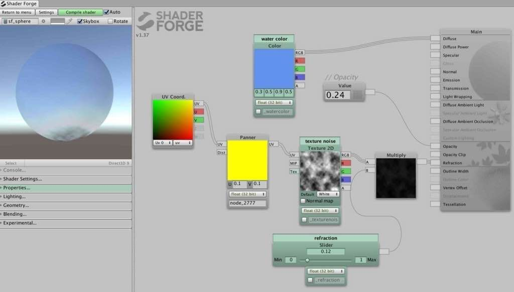 SimpleWater.shaderのshader forgeでの図