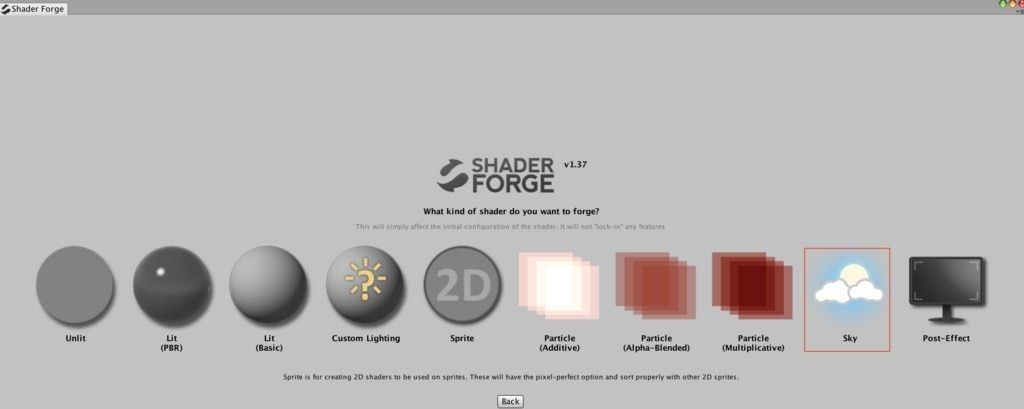 Shader ForgeでSkyを選択