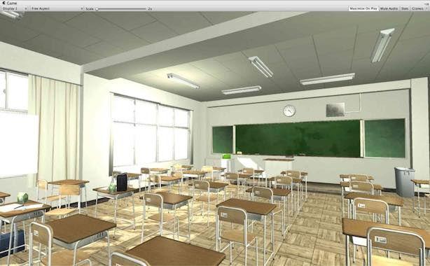 Japanese Classroomアセットのサンプルシーン