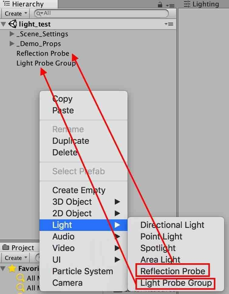 UnityのReflection ProbeとLight Probe Groupを追加場所