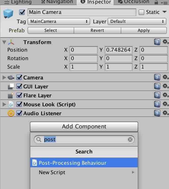 Add ComponentからPost Processing Behaviourを追加する手順