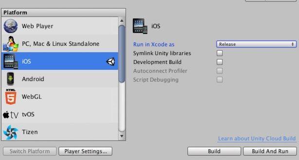 Unity Build SettingsのiOS選択