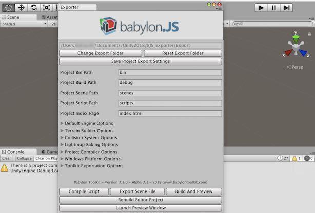 Babylon Editorの機能パネルをUnityで表示させた例