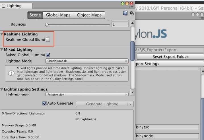 Babylon.js EditorでUnityのRealtime Global Illumination設定画面
