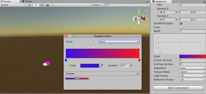 Line RendererのColor設定画面