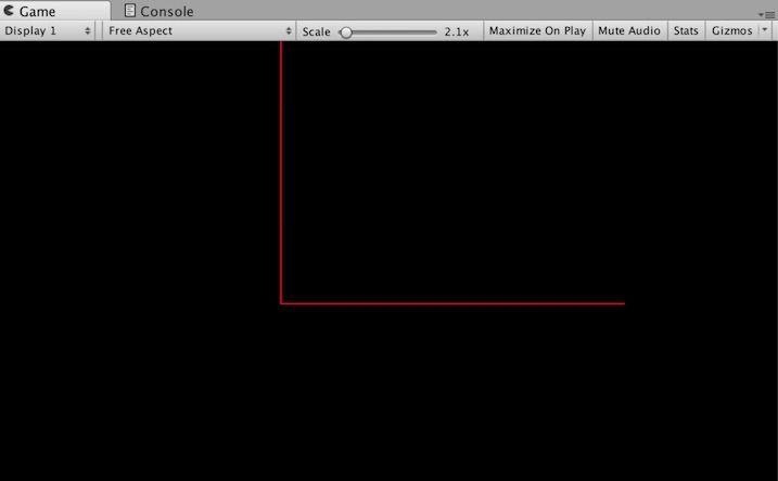 Line Rendererで線の色を赤色に変更した例
