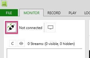 Kinect StudioでKinectを接続を開始するボタン
