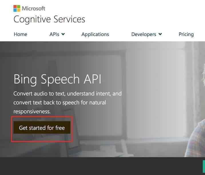 Microsoft Bing Speech APIの開始ボタン