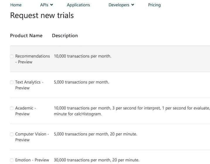 Microsoft APIの一覧