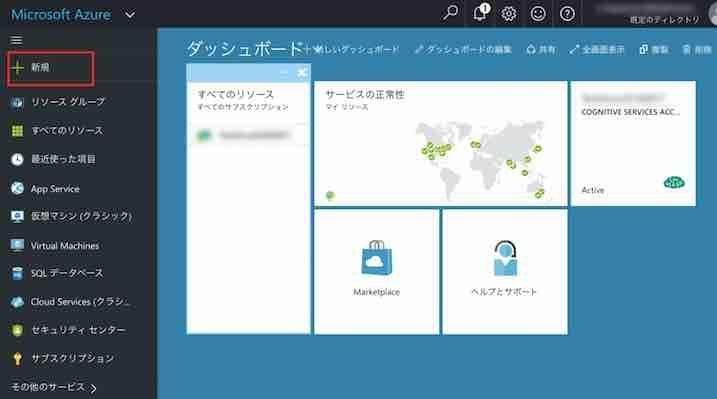 Azure Portalのダッシュボード画面