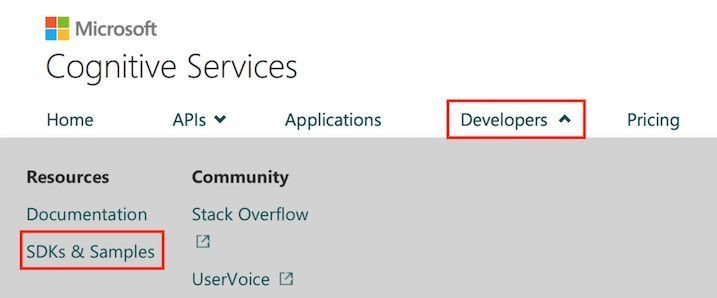 Cognitive ServiceのサイトトップからSDKs & Sampleに遷移するためのリンクボタン