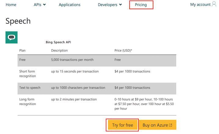 Bing Speech APIの価格
