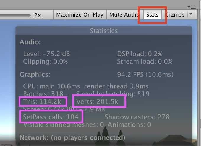 Unity EditorのStatistics画面の例