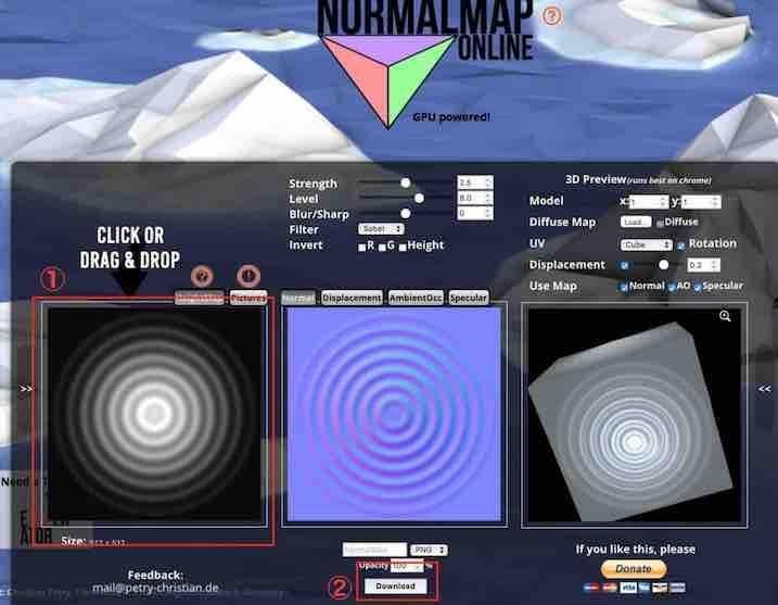 NormalMap-Onlineサービスの画面