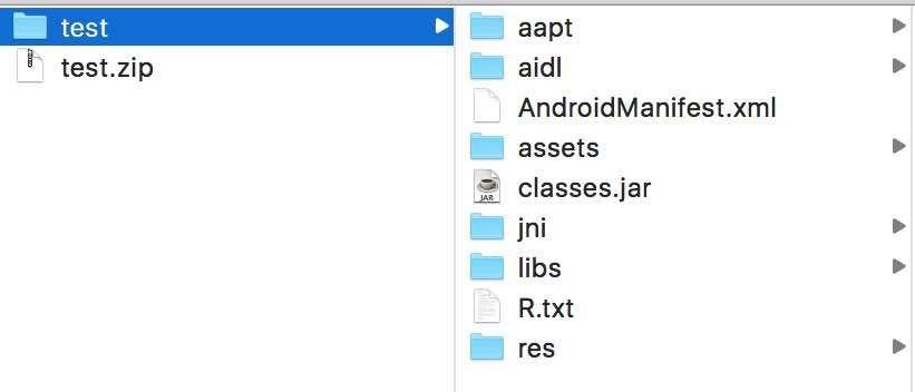 Android Studioで作ったaarファイルの中身の例