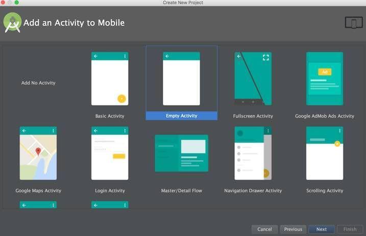 Android StudioでのActivity選択画面