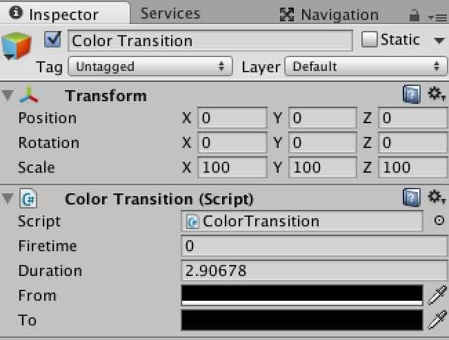 Transition処理を作るためのInspector View