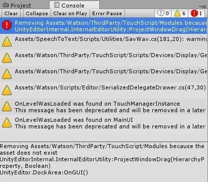 Watson SDKをインポートしたときのエラーログ