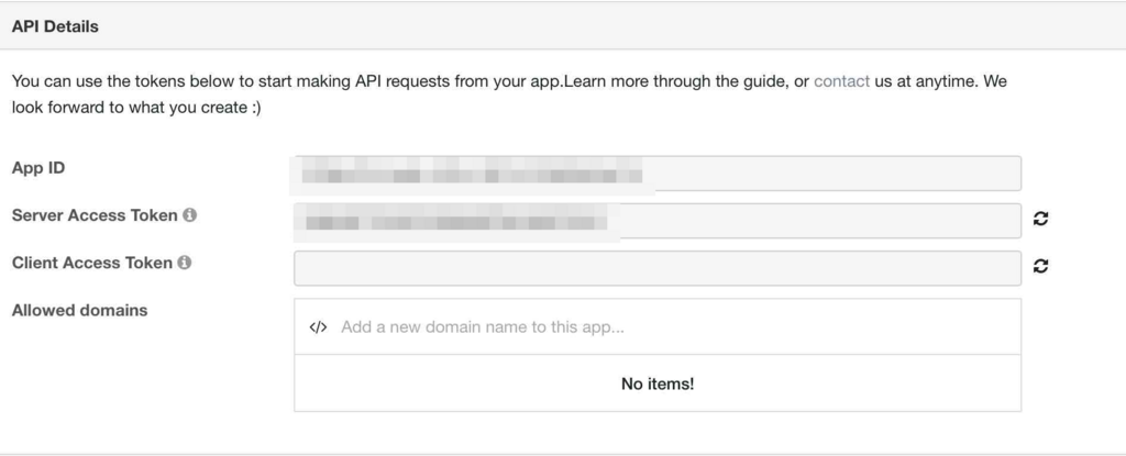 Wit.aiのServer Access Token表示画面