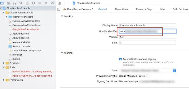 Cloud AnchorのXCodeプロジェクトを開いたところ