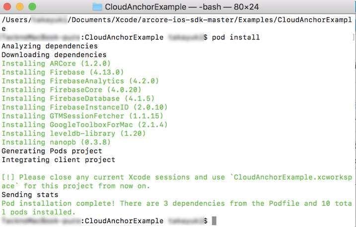 pod install実行時にXCodeを開いているときのメッセージ