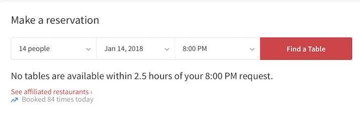 OpenTableで予約時の予約不可画面