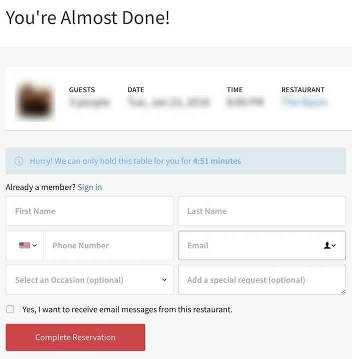 Input field of name, phone number, and email address on OpenTable