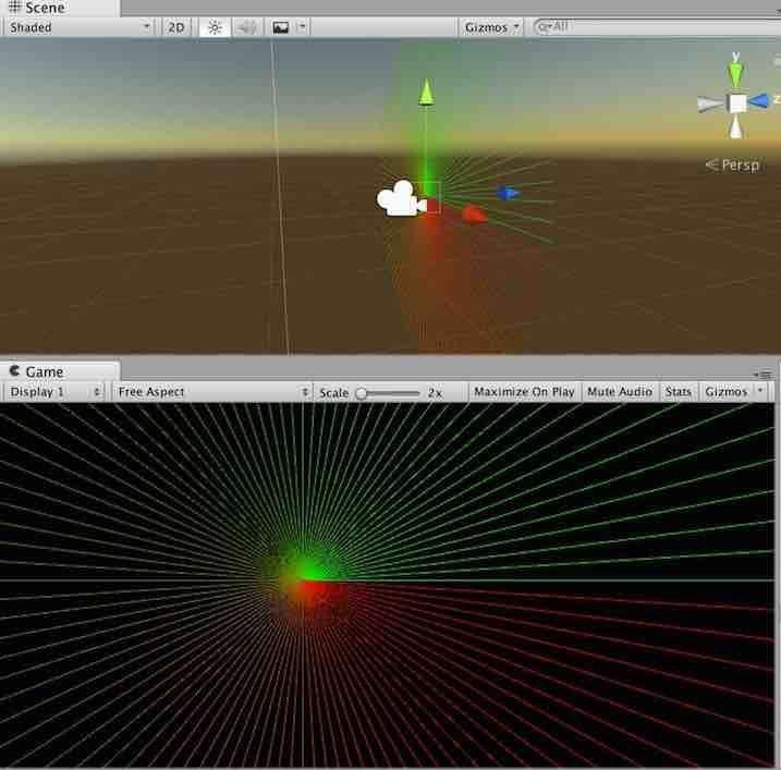 線の描画が3次元的に表現されている例
