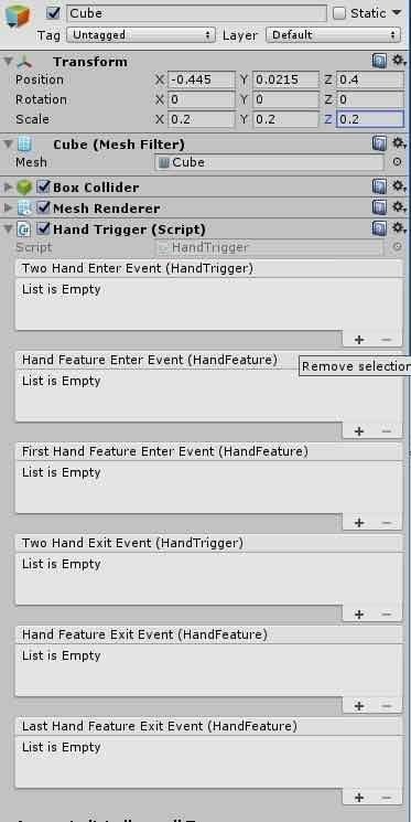 Hand Triggerコンポーネントの内容