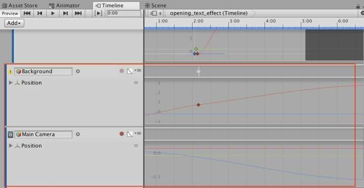 Cameraと背景画像のpositionをUnityのTimelineで調整した例