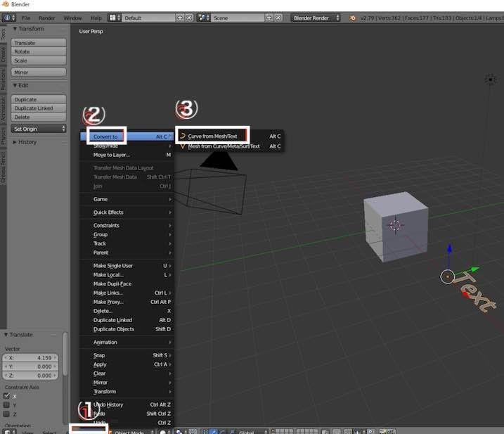 Blenderで3DTextをメッシュに変換する操作手順