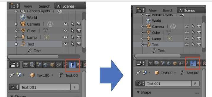 Blenderで3DTextをメッシュに変換した後のアイコン変化