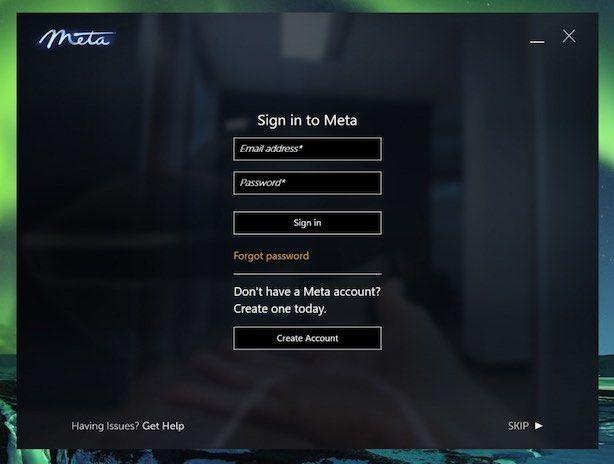 Meta2 SDK2.7以降のMeta Cloudログイン画面