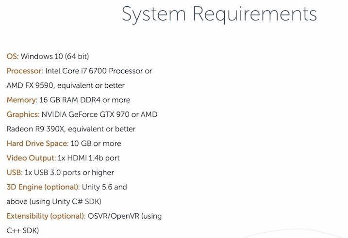Meta2 SDK2.4のPC minimum requirement