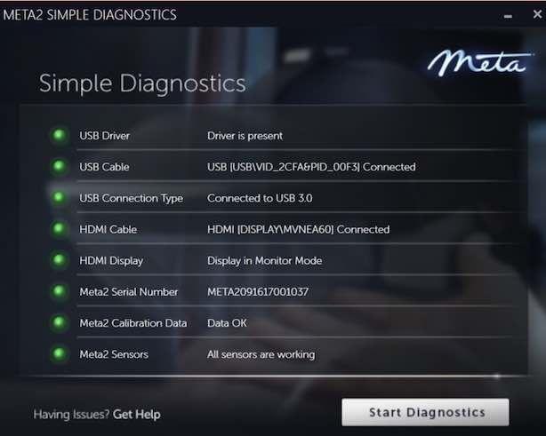 Meta2のDiagnostics完了画面