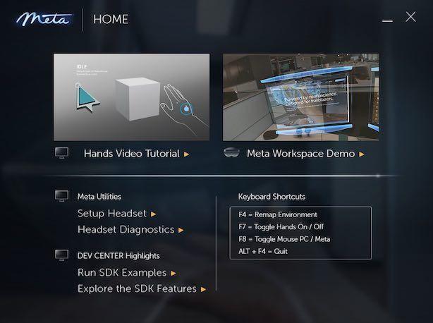 Meta2のWorkspaceアプリ画面
