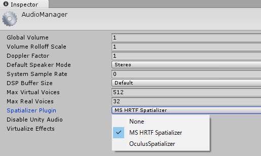 Unityで3D音源を使うときの設定画面
