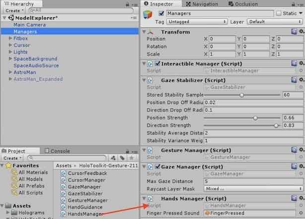 ManagersオブジェクトにHandsManager.csを追加する手順