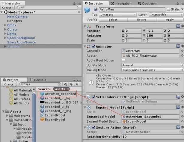 AstroManのInspectorにAstroMan_Expandedを追加する手順