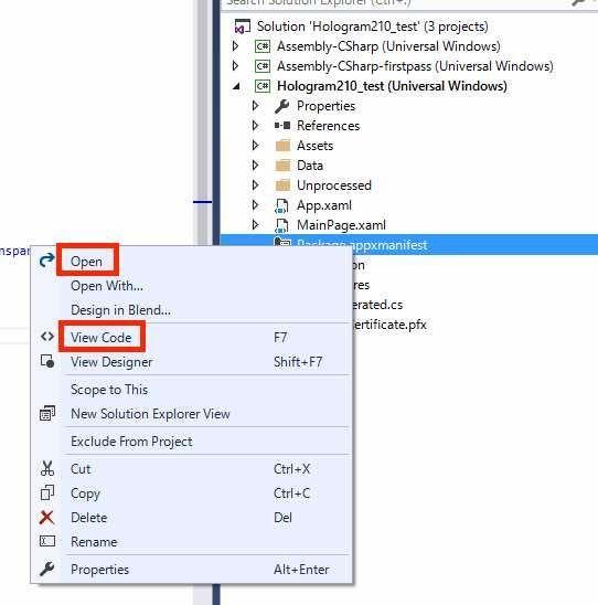 Visual Studioプロジェクトでmanifestファイルを開く手順