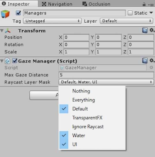 GazeManagerコンポーネントのRayCast Layer Mask設定例