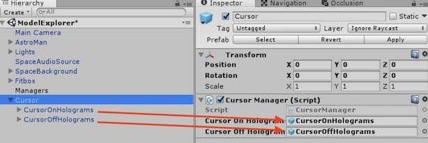 CursorManagerコンポーネントに対応させる子オブジェクトの関係