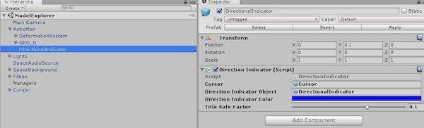 Direction Indicatorへのオブジェクト追加画面