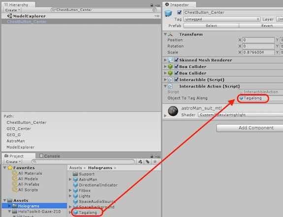 InteractibleAction コンポーネントにTagalong のPrefabを追加する例