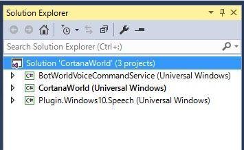 CortanaWorld.slnのプロジェクトを追加する画面