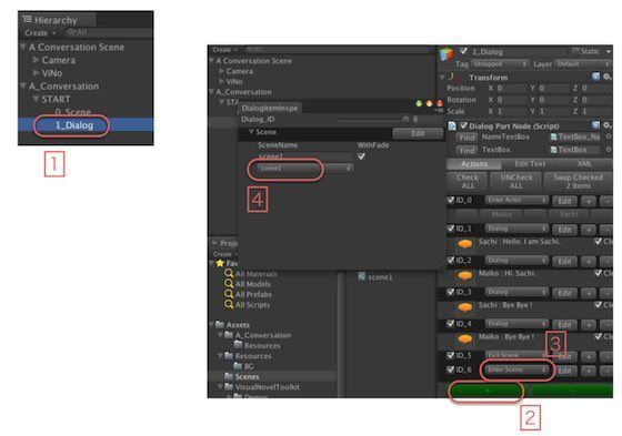 Visual Novel ToolKitでシーンを実行する手順