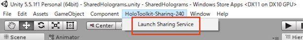 Unityのメニュー画面からSharingサービスを起動するボタン
