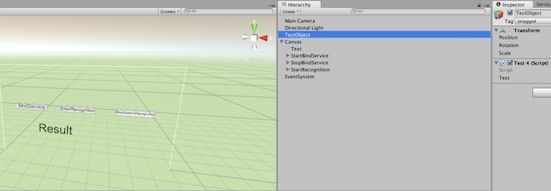 UnityプロジェクトでuGUIのボタンを設置し、Bing Speech to TextのAPIを呼ぶようにした画面