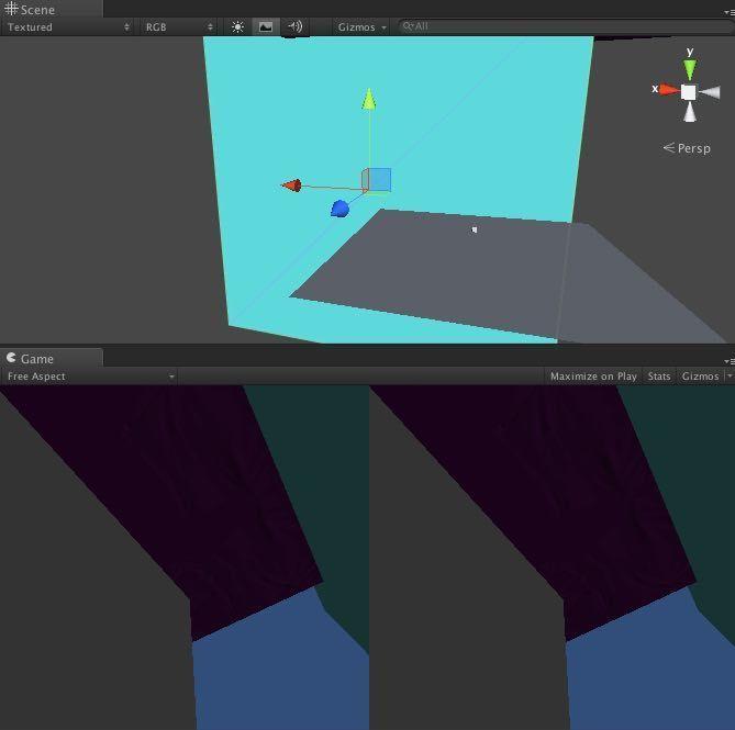 ゲームの動作を作る時の最低限のオブジェクトを表示させたときの画面例